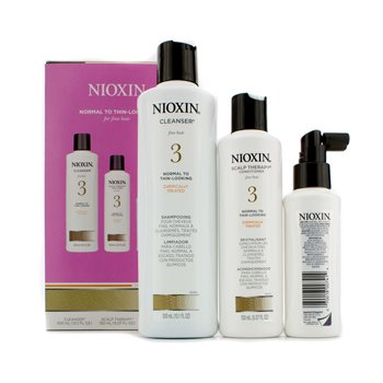 NioxinSystem 3 System Kit For Fine Hair, Chemically Treated, Normal to Thin-Looking Hair: Cleanser 300ml + Scalp Therapy Conditioner 150ml + Scalp Treatment 100ml 3pcs