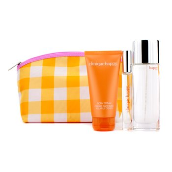 Clinique Perfectly Happy Coffret: Perfume Spray 50ml/1.7oz + Body Cream 75ml/2.5oz + Perfume Rollerball + Bag  3pcs+1bag