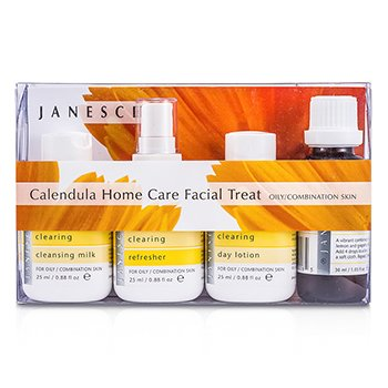 JanesceCalendula Home Care Facial Treat (For Oily/ Combination Skin): Soaking Drops + Cleasing Milk + Refresher + Day Lotion + Refresher + Serum + Soaking Cloth 9pcs