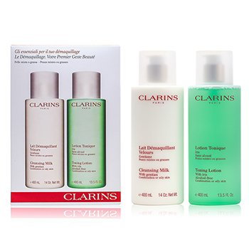 ClarinsCleansing Coffret: Cleansing Milk 400ml + Toning Lotion 400ml (Combination or Oily Skin) 2pcs