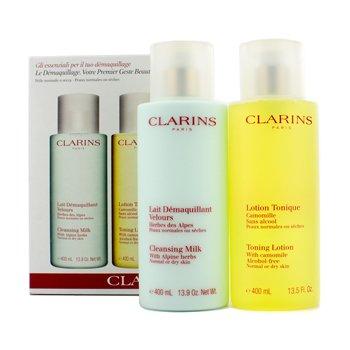 ClarinsCaixa de limpeza Cleansing: Leite de limpeza 400ml + Lo��o t�nica 400ml (pele seca e normal) 192284 2pcs