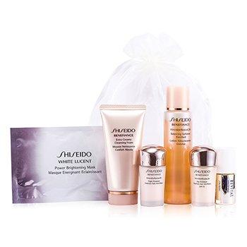 Shiseido Set Viaje: Suavizante Balance Enriquecido 75ml/2.5oz + Jab�n Desmaquillador 50ml/1.7oz + Emulsi�n D�a 15ml/0.5oz + Emulsi�n Noche 15ml/0.5oz + Serum Blanqueador Revital AA EX 10ml/0.33oz + Mascarilla Iluminadora  6pcs