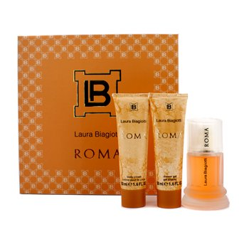 Laura Biagiotti Roma Coffret: Eau De Toilette Spray 50ml/1.6oz + Body Cream 50ml/1.6oz + Shower Gel 50ml/1.6oz 3pcs