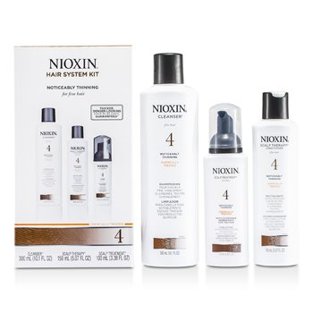NioxinSystem 4 System Kit for Fine Hair, Chemically Treated, Noticeably Thinning Hair: Cleanser 300ml + Scalp Therapy 150ml + Scalp Treatment 100ml 3pcs
