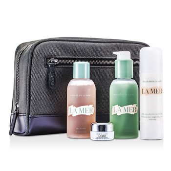 La Mer Essentials Set:Cleansing Gel 100ml + Tonic 100ml + Moisturizing Lotion 50ml + Eye Balm Intense 5ml + Lip Balm 9g + Bag  5pcs+1bag