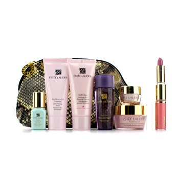 Estee Lauder Resilience Gift Set: Foaming Cleanser + Mask + Lotion + Neck Cream + Skintone Illuminator + Eye Cream + Lipstick#16 & Lip Gloss#09 + Bag 7pcs+1bag