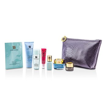 Estee LauderTravel Set: Foaming Cleanser + Boosting Lotion + Moisture Cream + Skintone Illuminator + Night Repair Eye + Eye Mask + Lip Gloss #07 + Bag 7pcs+1bag