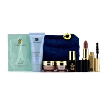 Estee LauderSet za putovanja: Foaming Cleanser + Neck Cream + Night Repair + Eye Cream + Eye Mask + Mascara #01 + Lipstick #17 + torbica 7pcs+1bag