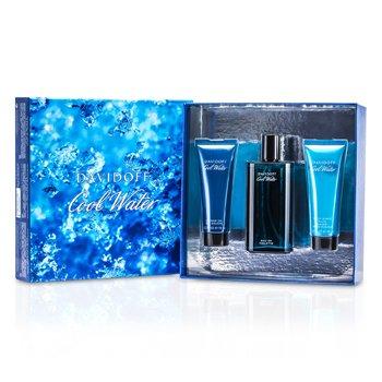 Davidoff Cool Water Coffret: Edt Spray 125ml/4.2oz + After Shave Balm 75ml/2.5oz + Shower Gel 75ml/2.5oz  3pcs