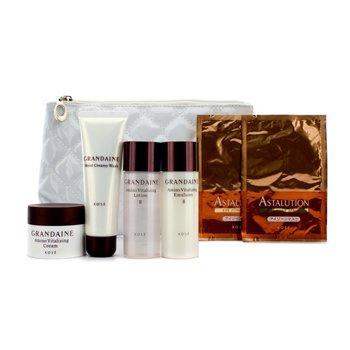 KoseGrandaine Travel Set: Lotion II + Emulsion + Creamy Wash +  Cream + 2x Eye Masks + Bag 6pcs+1bag