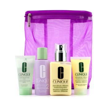 Clinique Day Care kit : Dramatically Different Moisturising Lotion 125ml & 30ml + Clarifying Twice A Day Lotion #2 60ml + Liquid Facial Soap Mild 30ml + Bag 4pc