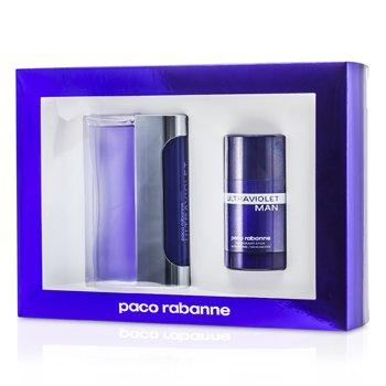Paco Rabanne Ultraviolet Coffret: Eau De Toilette Spray 100ml/3.3oz + Deodorant Stick 75ml/2.7oz  2pcs