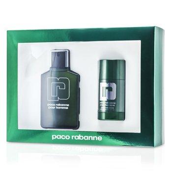 Paco Rabanne Pour Homme Coffret: Eau De Toilette Spray 100ml/3.3oz + Deodorant Stick 75ml/2.2oz  2pcs