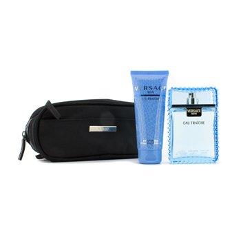 Versace Eau Fraiche Coffret: Eau De Toilette Spray 100ml/3.4oz + Perfumed Bath & Shower Gel 100ml/3.4oz + Pouch  2pcs+1pouch