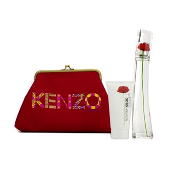KenzoFlower Coffret: Eau De Parfum Spray 50ml/1.7oz + Creamy Body Milk 50ml/1.7oz + Pouch 2pcs+1pouch