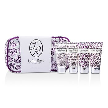 Lola Rose Calming Amethyst Travel Set: Shower Cream + Body Lotion + Hand & Nail Cream + Bubble Bath + Bag  4pcs+1bag