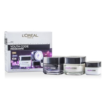 L'Oreal Youth Code Programme (For Tired-Looking Normal Skin): Night Cream 50ml + Day Cream 50ml + Eye Cream 15ml 3pcs