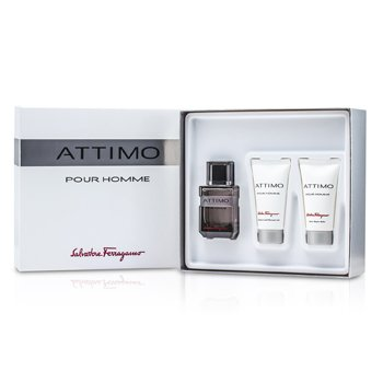 Salvatore FerragamoAttimo Pour Homme Coffret:Eau De Toilette Spray 60ml + Gel de Ducha 50ml + B�lsamo para Despu�s de Afeitar 50ml 3pcs
