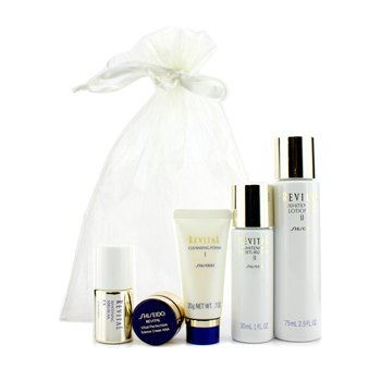 Shiseido Revital Set: Loci�n Blanqueadora EX II 75ml/2.5oz + Hidratante Blanqueador EX II 30ml/1oz + Espuma Limpiadora I 20g/0.7oz + Serum Blanqueador AA EX 10ml/0.33oz + Vital-Perfection Crema Ciencia AAA 7ml/0.24oz  5pcs
