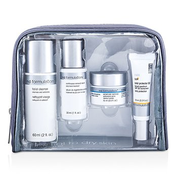 MD Formulations4-Step Travel Kit (Noraml To Dry Skin): Cleanser + Serum + Cream + Sun Protector +  Bag 4pcs+1bag