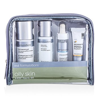 MD Formulations4-Step Travel Kit (Oily Skin): Cleansing Gel + Glycare Lotion + Hydrating Gel + Sun Protector + Bag 4pcs+1bag