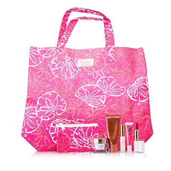 Estee LauderTravel Set: DayWear Cream SPF15 + Bronze Goddess + Mascara + Lipstick #88 + High Gloss #07 + Pouch + Bag 5pcs+2bags