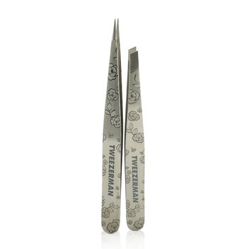TweezermanPetite Tweeze Set: Slant Tweezer + Point Tweezer - (Regency Finish w/ Silver Leather Case) 2pcs