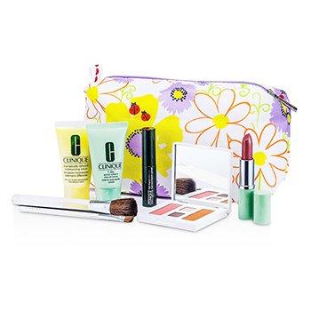 CliniqueTravel Set: Esfoliante 7 Dias + DDML + Paleta de Maquiagem (Pink Slate) + R�mel + Batom + 2x Pinc�is + 2x Estojos 7pcs+2bags