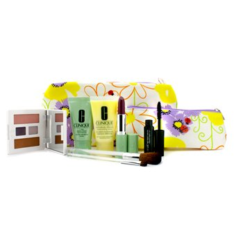 CliniqueKit de Viagem: Esfoliante 7 Dias + DDML + Paleta de Maquiagem (Twilight Mauve) + R�mel + Batom + 2x Pinc�is + 2x Estojos 7pcs+2bags