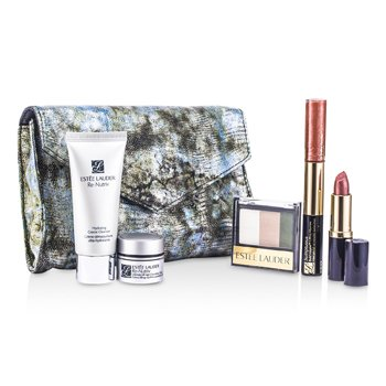 Estee LauderRe-Nutriv Travel Set: Cleanser 30ml + Creme 7ml + 3-Colors EyeShadow + Lipstick #41 + Lip Gloss #25 & Mascara + Bag 5pcs+1bag