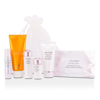 ShiseidoSet White Lucent: Gel de Ducha 100ml + Espuma Limpiadora w 50ml + Balanceador Suavizante Enriquecido w 25ml + Emulsi�n Protectora w SPF15 15ml + Suero Enfoque Manchas + 9ml + M�scara Iluminante 6pcs