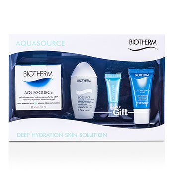BiothermAquasource Set: High Density Hydrating Jelly + Eye Perfection + Cleansing Micellar Water + Deep Hydration Replenishing Gel 4pcs