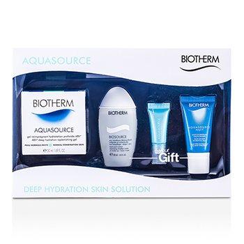 Biotherm Aquasource Set: High Density Hydrating Jelly + Eye Perfection + Cleansing Micellar Water + Deep Hydration Replenishing Gel  4pcs