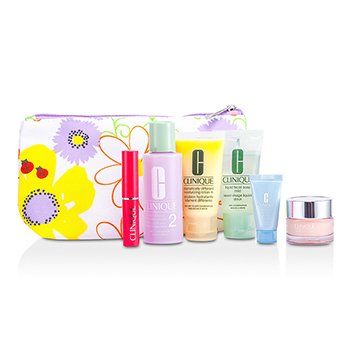 CliniqueTravel Set: Facial Soap + Clarifying Lotion #2 + DDML Plus + Moisture Surge + Turnaround Concentrate + Lipstick #Flirty Honey + Bag 6pcs+1bag