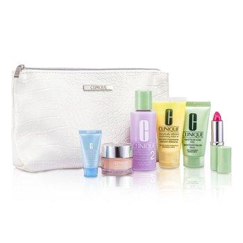 CliniqueTravel Set: Facial Soap + Clarifying Lotion #2 + DDML Plus + Moisture Surge + Turnaround Concentrate + Lipstick #Water-Melon + Bag 6pcs+1bag