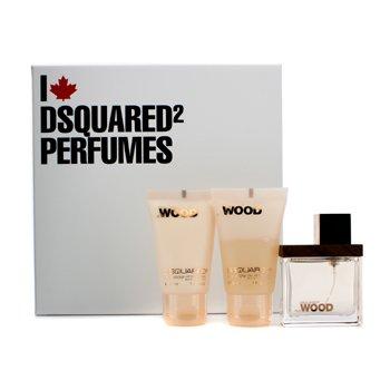 Dsquared2She Wood Coffret: Eau De Parfum Spray 30ml/1oz + Body Lotion 30ml/1oz + Body Wash 30ml/1oz 3pcs