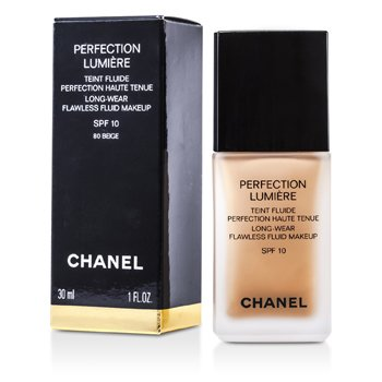 Chanel Perfection Lumiere Long Wear Flawless Fluid Make Up SPF 10 - # 80 Beige 30ml/1oz at StrawberryNET.com - Skincare-Makeup-Cosmetics-Fragrance
