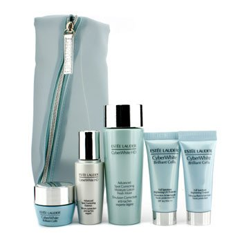 Estee LauderCyberWhite Set: Spot Correcting Lotion + Essence + Cleanser + UV Protector SPF 50 +  Brightening Moisture Creme + Bag 5pcs+1bag