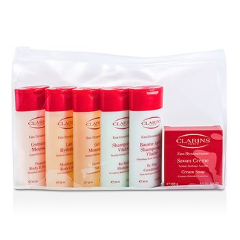 ClarinsKit Eau Dynamisante Body: Esfoliante Corporal  + Lo��o Corporal + Gel de Banho + Shampoo + Condicionador + Sabonete 6pcs