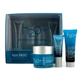 H2O+Face Oasis Daily Hydration System: Hydrating Treatment 50ml + Exfoliating Cleanser 30ml + Eye Moisture Replenishing Treatment 7ml (For Normal/ Oily Skin) 3pcs