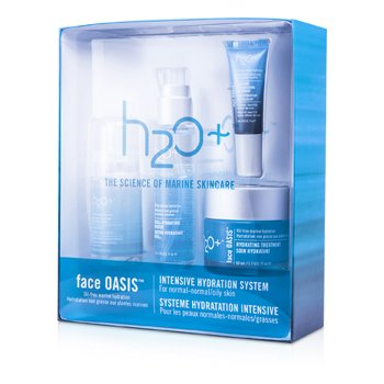 H2O+Face Oasis Intensive Hydration System: Hydrating Treatment  + Oasis Mist + Hydrating Booster + Eye Moisture Replenishing Treatment (For Normal/ Oily Skin) 4pcs