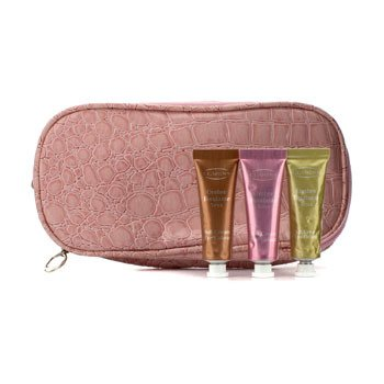Clarins Soft Cream Eye Color Set (With Double Zip Pink Cosmetic Bag) - #03 Sage #07 Sugar Pink #08 Burnt Orange 3pcs+1bag