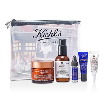 Kiehl'sPowerful Wrinkle Anti-Aging Set: Powerful Cream 50ml + Concentrate 50ml + Wrinkle Filler 5ml + Concentrate 4ml + Recovery Eye 3ml + Tas 5pcs+1bag
