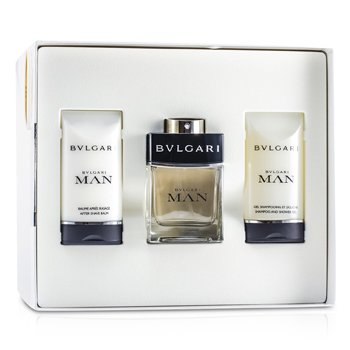 BvlgariMan Coffret: Eau De Toilette Spray 60ml/2oz + After Shave Balm 75ml/2.5oz + Shampoo & Shower Gel 75ml/2.5oz 3pcs