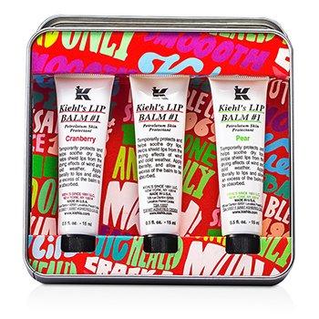 Kiehl's Lip Balm #1 Trio: Lip Balm-Balsem Bibir #1 Cranberry 15ml/0.5oz + Lip Balm #1 15ml/0.5oz + Lip Balm-Balsem Bibir #1 Pear 15ml/0.5oz  3x15ml/0.5oz