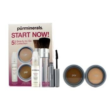 PurMinerals Start Now 5 Piece Beauty To Go Collection (Primer  Pressed Powder  Mineral Glow  Mascara  Chisel Brush) - Porcelain 5pcs