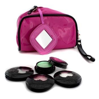 Anna SuiEye Color Set: 3x Eye Color Accent + 1x Eye Gloss + Pink Cosmetic Bag 4pcs+1bag