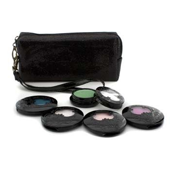 Anna Sui Eye Color Set: 4x Eye Color Accent + 1x Eye Gloss + Black Cosmetic Bag  5pcs+1bag