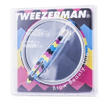 TweezermanMini Slant Tweezer w/ Pocket Mirror - Zig Zag 2pcs