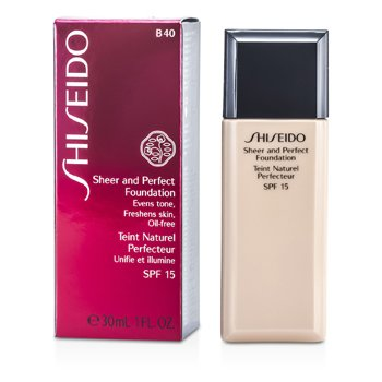 Shiseido Sheer & Perfect Foundation SPF 15 - # B40 Natural Fair Beige  30ml/1oz
